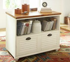 Whitney Lateral File with Shelf #potterybarn--could I make something like this? repurpose an old dresser or media table?