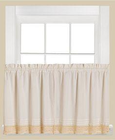 "Saturday Knight Heritage Macrame Trim Pair of 29"" x 36"" Tier Curtains Bedding"