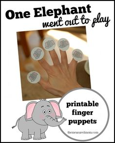 """One Elephant Went out to Play"" Rhyme and Puppets"