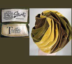 Late 1950s Tri Color Vintage Velvet Turban by pastperfectvintage, $35.00