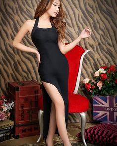 Summer Black Split Dance Long Dress Racy Sleeveless.