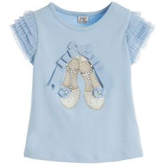 Younger girls light blue shoe print t-shirt by Mayoral. Made in soft cotton jersey with a ribbon and diamante shoe design on the front and frilled tulle shoulders.<br /> <ul> <li>92% cotton, 8% elastane (soft jersey feel)</li> <li>Machine wash (30*C)</li> <li>True to size</li> <li>Designer colour: Light Blue</li> </ul>