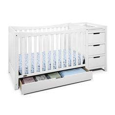 Remi Convertible Crib and Changer: With a large drawer underneath the crib and an attached changing table featuring multiple drawers and shelves, the Graco Remi offers an abundance of storag. Crib And Changing Table Combo, Changing Tables, Convertible Bed, Table Shelves, Bed Rails, Bed Mattress, Baby Cribs, Storage Drawers, Bedroom Decor