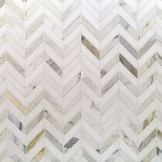 Kitchen Backsplash Tile - Talon Calacatta and Thassos Marble Tile - Chevron Pattern - Stone Collections