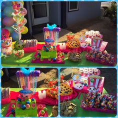 Shopkins birthday party candy bar buffet table