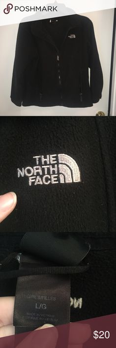 The North Face Girls Fleece Zip Up Jacket Black Girls size L North Face fleece. Will fit women's size S as well. Used but still tons of life left. Full zip up. Black color. North Face Jackets & Coats