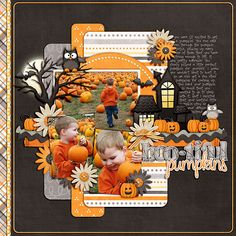 #papercraft #scrapbook #layout. bootiful pumpkins - digital layout by Julie Billingsley