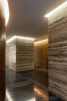 Silver Travertine Hallway with Cove lighting