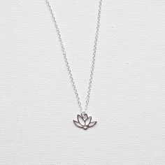Delicate Necklace 925 Silver Tiny Lotus by DelicateAndLayered