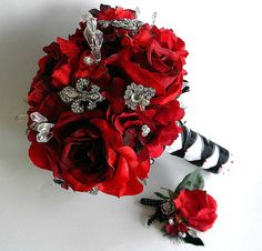 Brooch Bouquet (Pic Heavy) :  wedding black bouquet brooch bouquet budget diy flowers gold red Brooch Bouquet2
