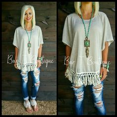 Oatmeal Fringe Slouch Top ~ Follow @bar_t_boutique on Instagram to Shop weekly New Arrivals