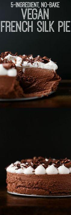 5-Ingredient, No-Bake Vegan French Silk Pie | vegan, gluten-free, paleo