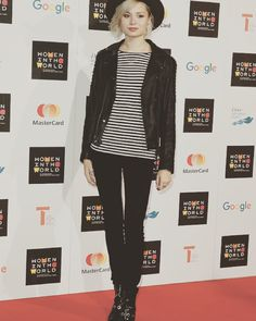 Singer-songwriter Nina Nesbitt at the Women In The World summit wearing Samsøe & Samsøe leather jacket.