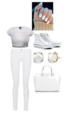 """No stains please I'm in WHITE"" by stylebylexie13 ❤ liked on Polyvore featuring beauty, Frame Denim, Converse and Michael Kors"