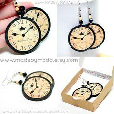 London clock Round Earrings Earth tones decoupage by MADEbyMADA, $19.50
