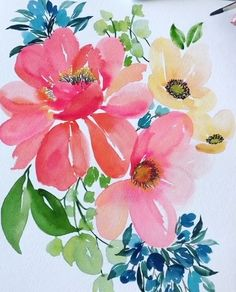 Everyday Watercolor: Learn to Paint Watercolor in 30 Days Watercolor Projects, Watercolor Plants, Watercolor Cards, Watercolour Painting, Floral Watercolor, Painting & Drawing, Watercolors, Watercolor Flowers Tutorial, Guache