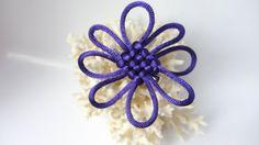 Purple Flower Clip Hair Barette Chinese Knot by KnottinghamDesigns