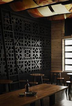 Black breezeblock wall. Mo Pho Noodle, Melbourne Australia