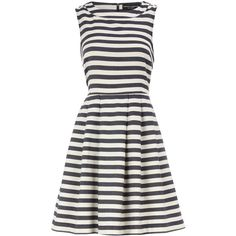 Blue stripe high neck dress