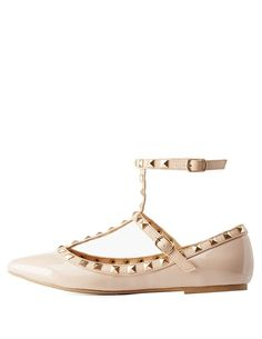 Studded Pointed Toe T-Strap Flats by Charlotte Russe - Nude