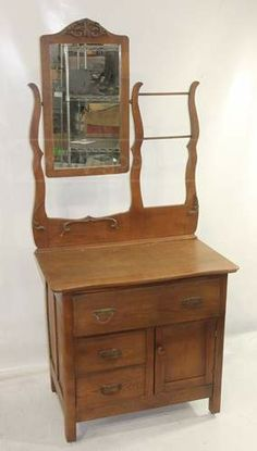 shopgoodwill.com: Handsome Vintage Wooden Wash Stand with Mirror