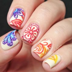 Rainbow Doodle Flower Gradient - freehand nail art design with acrylic paints - recreation of The Dalai Lama's Digit-al Dozen floral manicure | Sassy Shelly