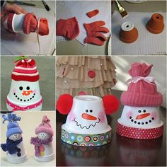 Making clay pot snowman is easy and inexpensive . Clay pot crafts are great projects for kids of all ages.   Check tutorial--> http://wonderfuldiy.com/wonderful-diy-adorable-claypot-snowman/