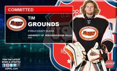The Steele County Blades are proud to announce that Tim Grounds has committed to play NCAA hockey at the University of Wisconsin-River Falls in the fall. Tim played his only season last year for the Blades