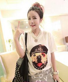 nice Leisure loose little dog rivet decorate T-shirt -
