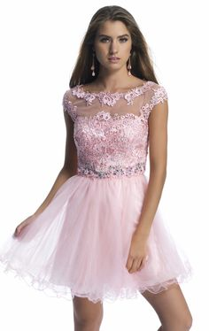 Dave & Johnny 9750 Cap Sleeve Illusion Lace/Tulle Dress Pink