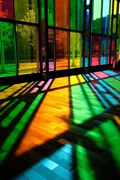 "Coloured light. Cellophane in the windows at school might be necessary - & then don't let the window cleaners in!  ("",)"