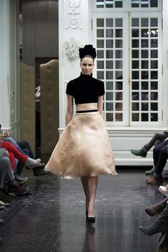 Full skirt in nude sillk