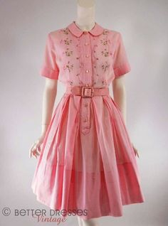 78f770b9f3a2 Vtg late or early Embroidered Pink Cotton Full Skirt Shirtwaist Day Dress -  sm by Better Dresses Vintage. I don't like pink but I love this dress.