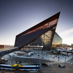 The Super Bowl will take place next week in a new Minneapolis stadium featuring angular protrusions, zinc cladding and a roof partly made of plastic film.