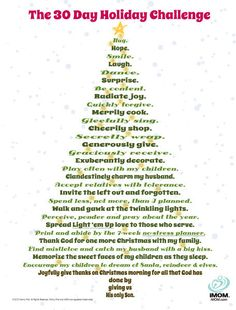 Take the 30 Day Holiday Challenge to add more meaning, memories, and joy to your Christmas season! Don't let the real meaning of Christmas get lost in the hustle and bustle of the holiday season.