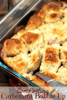 Comforting Carbonara Bubble Up ~ Biscuits Loaded with Ragú® Classic Alfredo, Garlic, Bacon and Cheese!
