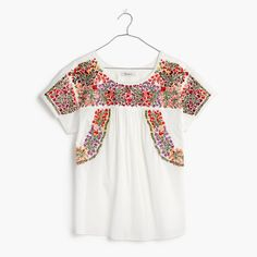 Love the pattern - Embroidered Springtime Top in Eyelet White