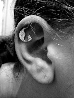 Silver moon cartilage piercing earrings