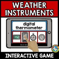 BoomLearning.com - Amazing authors make awesome learning content!A fun 'weather instruments' vocabulary game where children read each word/ phrase and click the corresponding picture.Vocabulary included: anemometer, barograph, barometer, compass, digital barograph, digital thermometer, hygrometer, rain gauge, snow gauge, thermometer, weather balloon, weather satellite, weather vane, wind sock. Classroom Games, Science Classroom, Classroom Ideas, Word Work Games, Weather Satellite, Weather Balloon, Weather Words, Weather Instruments, Rain Gauge