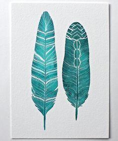 Feather Watercolor Art Painting  Archival Print  8x10 door RiverLuna