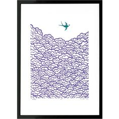 Lu West - Swallow Screen Print (645 NOK) ❤ liked on Polyvore featuring home, home decor, wall art, bird wall art, unframed wall art, bird home decor, framed wall art and london wall art