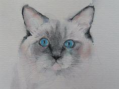 "'Blue Eyes' Cat, original modern watercolour art, mounted for 8x10"" frame. #Realism"