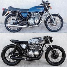 Honda by Before and after. What do you think? - Cafe racer/ brat style/ custom - Before and After Café Racer 125, Gs 500 Cafe Racer, Cafe Racer Helmet, Custom Cafe Racer, Cafe Racer Build, Cb400 Cafe Racer, Suzuki Cafe Racer, Motos Bobber, Cafe Racer Motorcycle