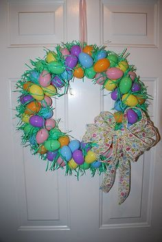Easter egg wreath.. Mine turned out very cute! Not to hard to make, although the grass was a little time consuming.  Now I have to make one for my Mom!