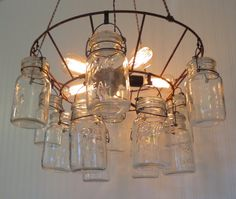 Show off your lighting style with Lamp Goods' Mason Jar Lights, Rustic Ceiling Chandeliers & Authentic Farmhouse Pendants. Mason Jar Pendant Light, Mason Jar Light Fixture, Mason Jar Lighting, Light Fixtures, Jar Lights, Hanging Lights, Ceiling Lamp, Ceiling Lights, Vintage Mason Jars
