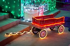 Little red wagon with LED Christmas lights and tape light! #LED #Christmas
