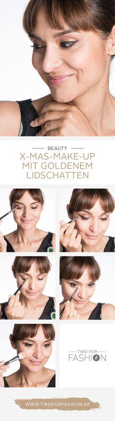 #christmas #goldeneyes #weihnachtsmakeup #eyeliner #cateyes #glamourmakeup #makeup  Let it glow! Dieses strahlend schöne Weihnachts-Make-Up lässt seine Trägerin mit all den glänzenden Weihnachtslichtern um die Wette strahlen. Der kunstvoll geschwungene Lidstrich wird durch den gold glänzenden Lidschatten noch einmal mehr betont.