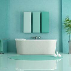 minimalist bathroom by archideaphoto. sandstone bathtub in a green modern bathroom ¨C rendering Pastel Bathroom, Turquoise Bathroom, Bathroom Colours, Bathroom Sets, Mint Bathroom, Serene Bathroom, Bathroom Bin, Bathroom Plants, Bathroom Closet
