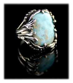 Large Larimar Silver Ring by Crystal Hartman of Durango, Colorado. Beautiful botanical designs encrust this natural gemstone from the Dominican Republic Jewelry Art, Fashion Jewelry, Unique Jewelry, Jewelry Ideas, Women's Fashion, Gold And Silver Bracelets, Silver Rings, Coloured Stone Rings, Durango Colorado