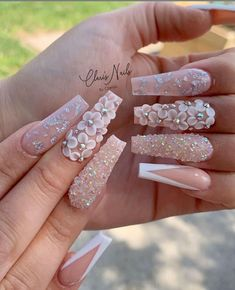 Bling Acrylic Nails, Best Acrylic Nails, Glam Nails, Bling Nails, Coffin Nails, Stiletto Nails, Nail Swag, 3d Flower Nails, Butterfly Nail